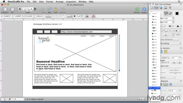 Adding pixel dimensions: OmniGraffle 5: Creating Web Sitemaps and Wireframes