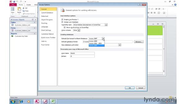 Changing the default file format in Access 2010: Migrating from Access 2003 to Access 2010