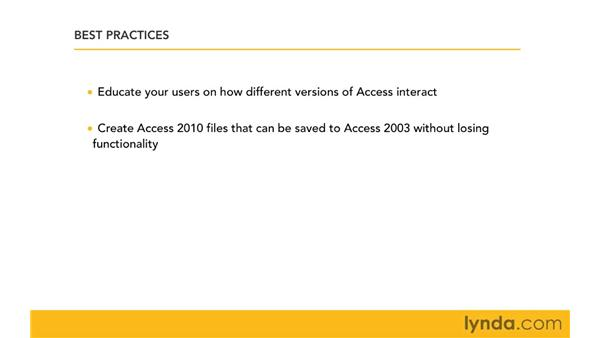Best practices for managing files in a mixed environment: Migrating from Access 2003 to Access 2010