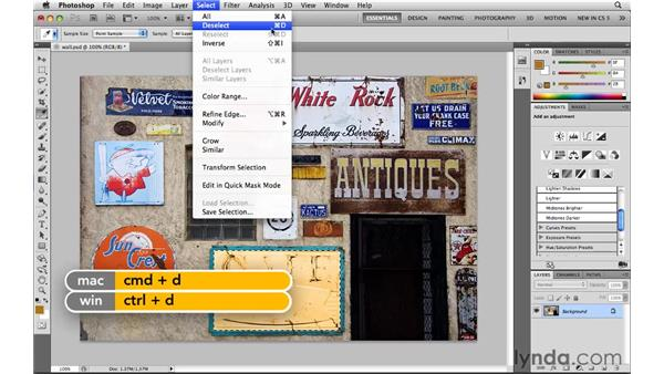 Deselecting and reselecting: Photoshop CS5: Selections in Depth