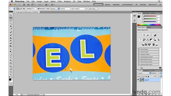 Selecting ovals with the Elliptical Marquee tool: Photoshop CS5: Selections in Depth