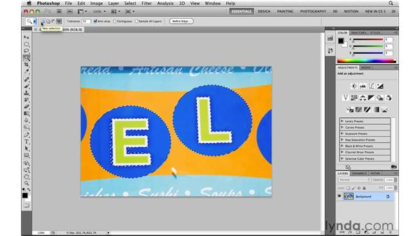 Selecting freehand with the Lasso tool: Photoshop CS5: Selections in Depth