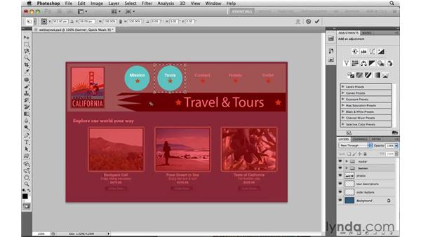 Making Step and Repeat web buttons in Quick Mask: Photoshop CS5: Selections in Depth