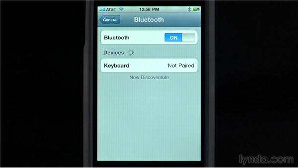 Syncing a Bluetooth keyboard: iPhone and iPod touch iOS 4 Essential Training