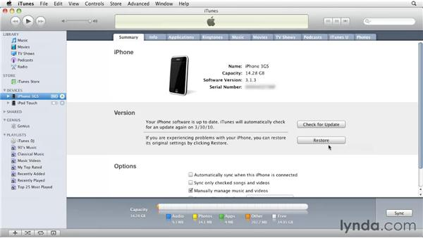 Connecting your iPhone to your Mac or PC: iPhone and iPod touch iOS 4 Essential Training