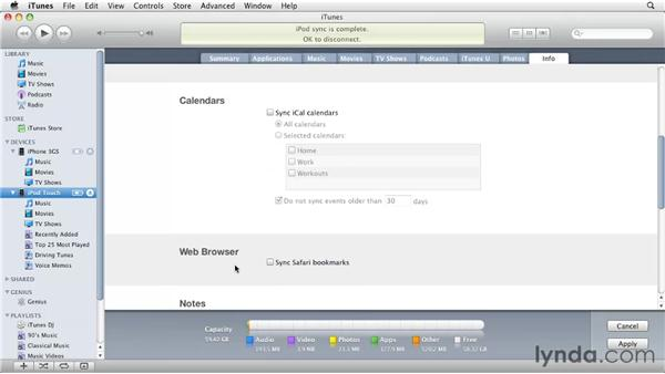 Syncing contacts and calendars from a Mac: iPhone and iPod touch iOS 4 Essential Training