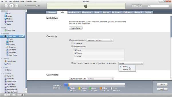 Syncing contacts and calendars from a PC: iPhone and iPod touch iOS 4 Essential Training