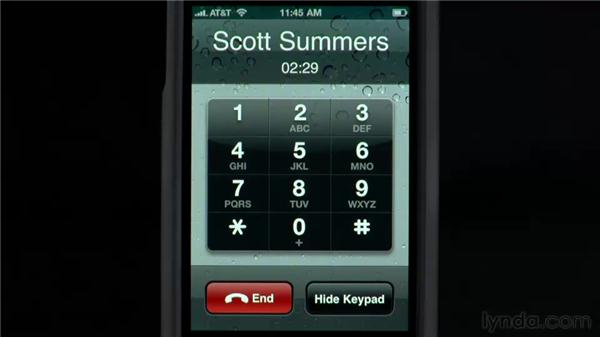 Using the iPhone during a call: iPhone and iPod touch iOS 4 Essential Training