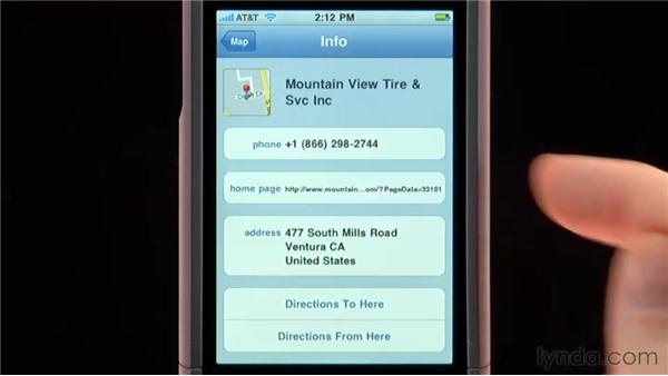 Finding addresses and nearby businesses: iPhone and iPod touch iOS 4 Essential Training