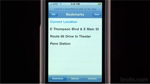 Bookmarking locations: iPhone and iPod touch iOS 4 Essential Training