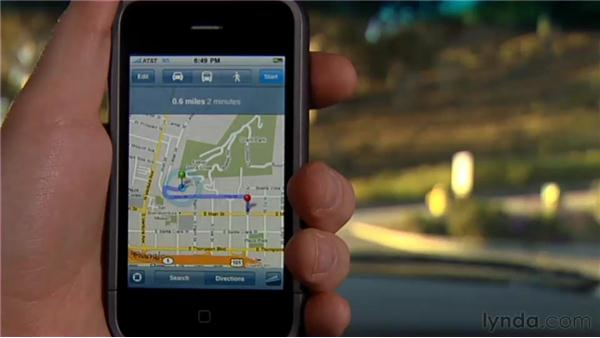 Getting directions: iPhone and iPod touch iOS 4 Essential Training