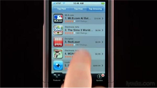 Browsing the App Store from your device: iPhone and iPod touch iOS 4 Essential Training