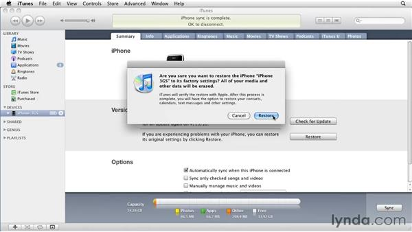 Restoring the iPhone or iPod Touch: iPhone and iPod touch iOS 4 Essential Training
