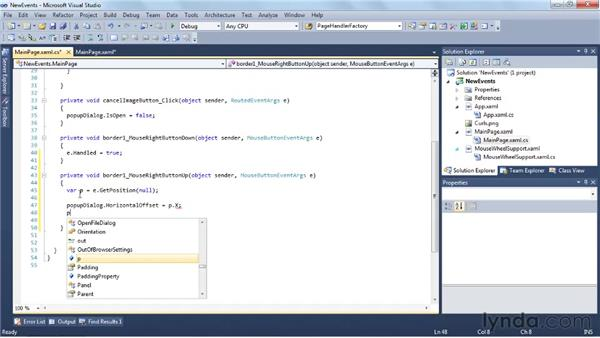 Digging into the new events: Silverlight 4 New Features