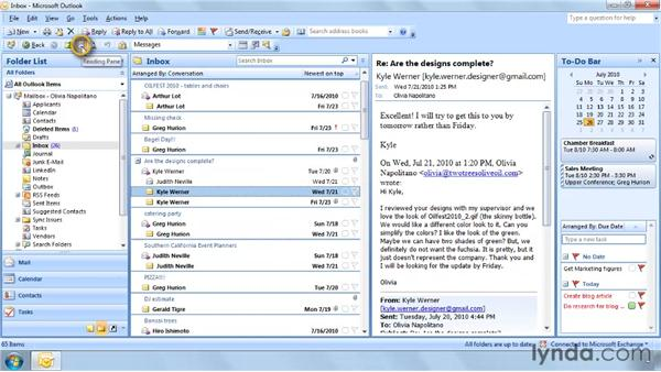 Using the Reading Pane: Outlook 2007: Effective Email Management