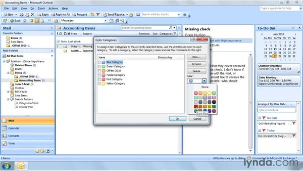Customizing categories: Outlook 2007: Effective Email Management