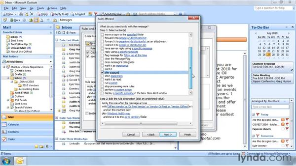 Creating a rule from scratch: Outlook 2007: Effective Email Management