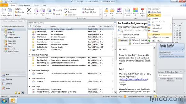 Sorting and filtering in a view: Outlook 2010: Effective Email Management