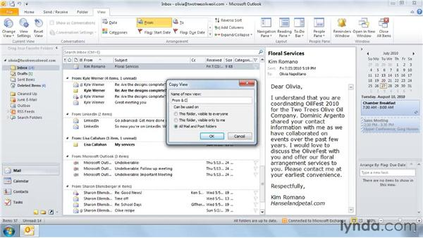 Saving the current view: Outlook 2010: Effective Email Management