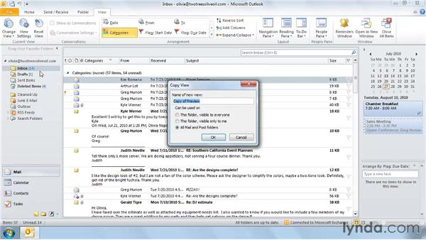 Resetting a view: Outlook 2010: Effective Email Management