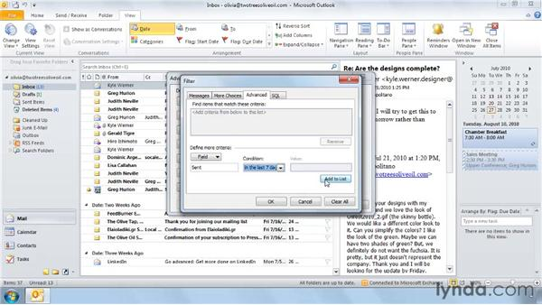 Changing view settings: Outlook 2010: Effective Email Management