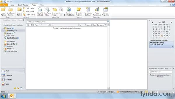 Creating inbox folders: Outlook 2010: Effective Email Management