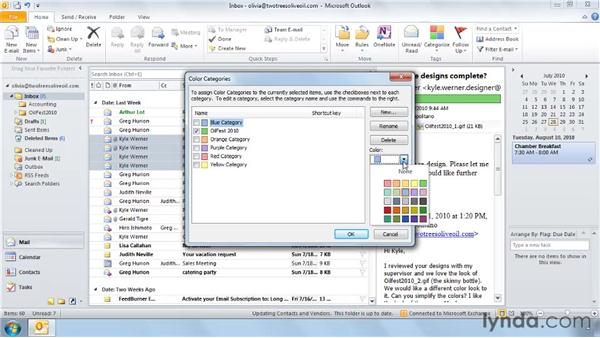 Customizing categories: Outlook 2010: Effective Email Management