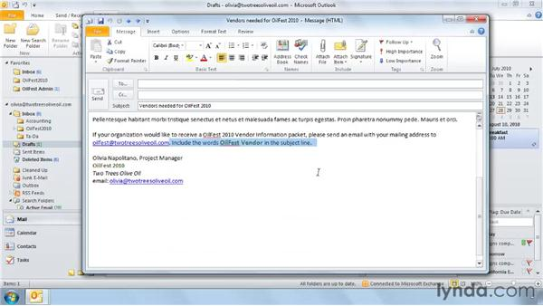 Creating a search folder: Outlook 2010: Effective Email Management