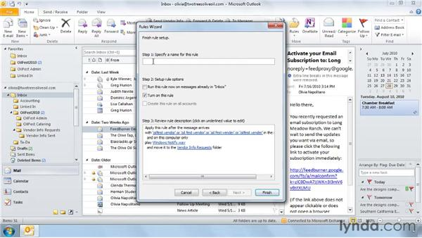 Creating a rule from scratch: Outlook 2010: Effective Email Management