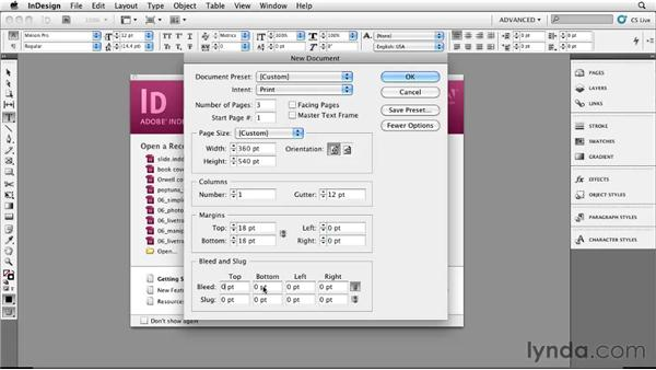 Setting up a document in InDesign CS5: Designing a Book Cover