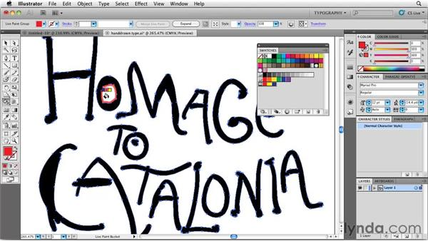 Using Live Paint to color type: Designing a Book Cover
