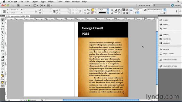 Starting text on the cover: Designing a Book Cover