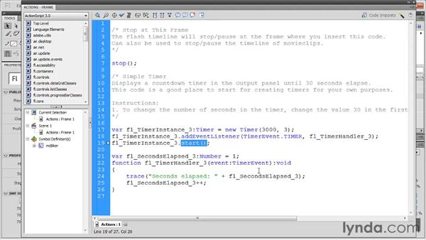 Adding a complex code snippet: Flash Professional CS5: Code Snippets and Templates in Depth