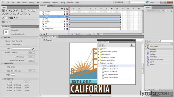 Applying code snippets to movie clip instances: Flash Professional CS5: Code Snippets and Templates in Depth