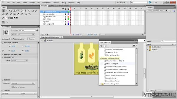 Showing and hiding movie clip instances: Flash Professional CS5: Code Snippets and Templates in Depth