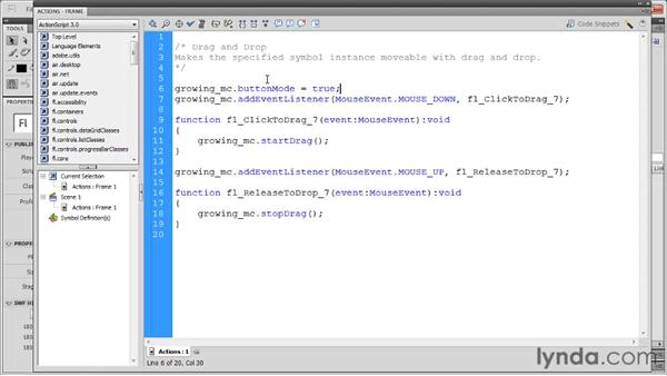 Adding drag and drop: Flash Professional CS5: Code Snippets and Templates in Depth