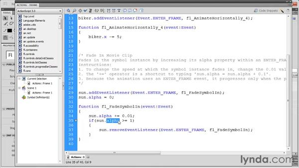 Fading objects: Flash Professional CS5: Code Snippets and Templates in Depth