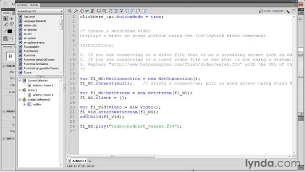 Showing video with NetStream: Flash Professional CS5: Code Snippets and Templates in Depth
