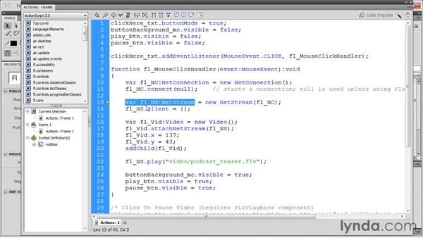 Stopping, pausing, and resuming video: Flash Professional CS5: Code Snippets and Templates in Depth