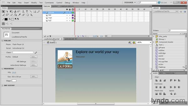 Loading external text: Flash Professional CS5: Code Snippets and Templates in Depth