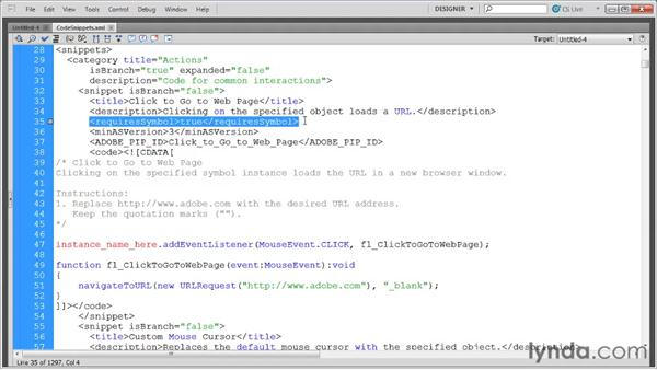 Exploring the Code Snippets XML file: Flash Professional CS5: Code Snippets and Templates in Depth