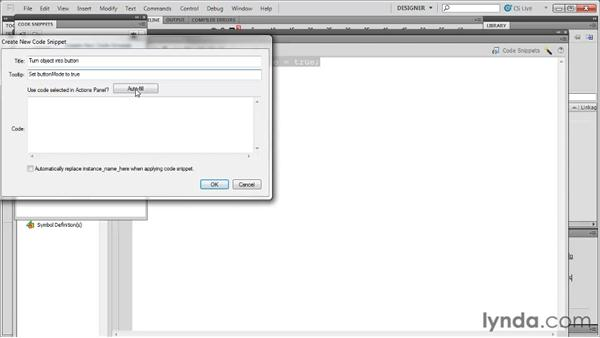 Adding a custom code snippet: Flash Professional CS5: Code Snippets and Templates in Depth