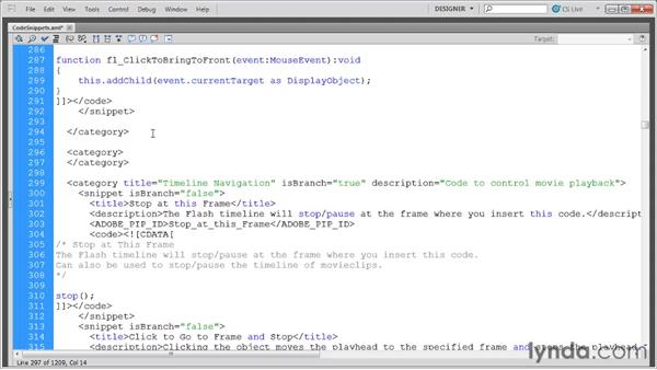 Managing code snippet categories: Flash Professional CS5: Code Snippets and Templates in Depth