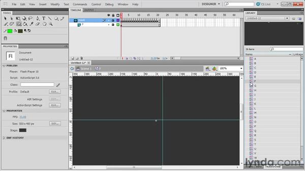 Revealing text with masks: Flash Professional CS5: Code Snippets and Templates in Depth