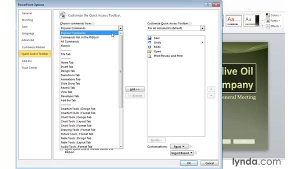 Customizing the Quick Access toolbar: Migrating from PowerPoint 2003 to PowerPoint 2010