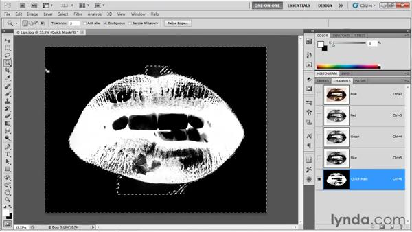 Testing edges with the Magic Wand: Photoshop CS5 One-on-One: Advanced