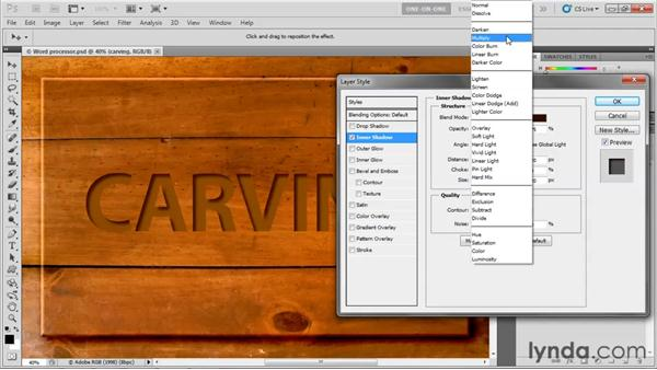 Carving with an Inner Shadow effect: Photoshop CS5 One-on-One: Advanced