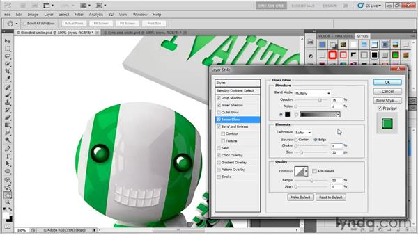 Using a center-source inner glow: Photoshop CS5 One-on-One: Advanced