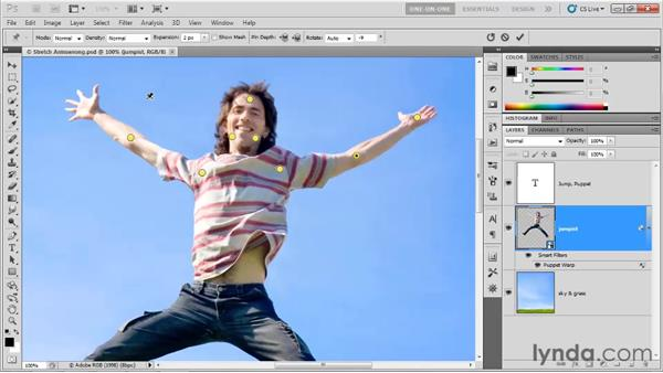 Rotating pins and switching warp modes: Photoshop CS5 One-on-One: Advanced