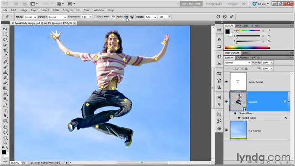 Adjusting the pin depth: Photoshop CS5 One-on-One: Advanced